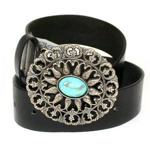 No Boundaries Women Belt Metallic Turquoise Buckle